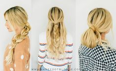 three separate pics of a blonde woman with easy hairstyles