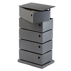 Anthracite 5-Bin Storage Tower