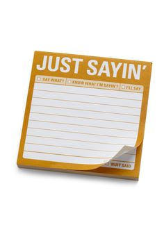 Just Sayin Sticky Notes by Knock Knock - Yellow, Dorm Decor, Best Seller, Best Seller, Top Rated