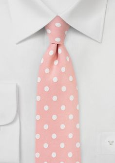 Salmon Pink Tie with White Polka Dots | Bows-N-Ties.com