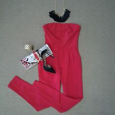 #Lookoftheday!!! @hunterbellnyc Joy jumpsuit in red, multi tassel necklace in black with gold, quilted gold bracelet, magazine cover clutch, and @sam_edelman Smithfield shoe in black with gold etched heel.#inthered #jumptoit #aboutalook #shoplocal #ootd  Read more at http://websta.me/n/effiesinc#aP7ab5TKQt2mTpeO.99