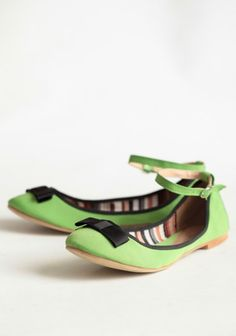 Bright Green Flats w/ Black Bow