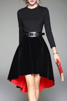Qeexi Black Color Block High Low Dress | Midi Dresses at DEZZAL Click on picture to purchase!