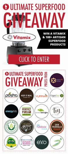 Enter Undiscovered Kitchen's ULTIMATE SUPERFOOD GIVEAWAY to win a Vitamix blender and over 100 artisan superfood products! http://contest.io/fb/yc0fogtx