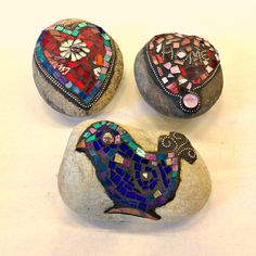 Mosaic rocks by students.