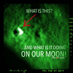 I'm certainly ready for an explanation!  There is something on our moon right now… it's the size of Chicago it's in the shape of a V and it appears to be glowing.