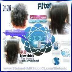 BIOIONIC Before and After PICS permanent HAIR straightening CALL 860-563-7777 Steiner HAIR Salon Rocky hill Ct
