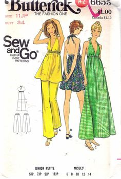 0e622682111b Vintage 1970 s Butterick 6655 Sew And Go Halter by Recycledelic1 Halter Dress  Summer