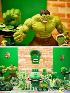 This pin was discovered by courtney. Hulk Birthday Parties, Superhero Birthday Party, Boy Birthday, Birthday Ideas, Incredible Hulk Party, Hulk Cakes, Avengers Birthday, Snacks Für Party, Decoration