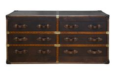 Curations Limited Reproduction Trunks Six Drawer Vintage Leather Trunk