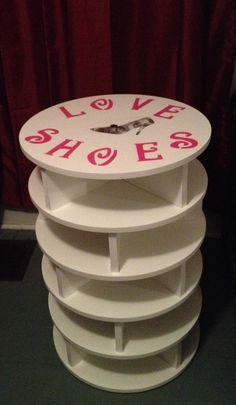 Rotating shoe rack I made for my fiancé
