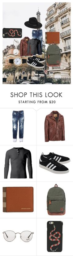 """""""Untitled #160"""" by estersc ❤ liked on Polyvore featuring Dsquared2, Wilsons Leather, adidas Originals, Patek Philippe, Burberry, Ray-Ban, Gucci, Lack of Color, men's fashion and menswear"""