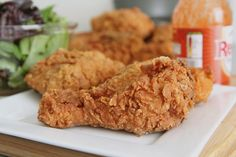 """""""Crispy spicy fried chicken recipe that's full of cajun flavor and seasoned to perfection. From Divas Can Cook - Jan 2015"""