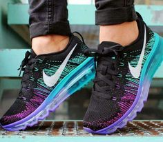aeef400be1b Nike Women s Air MAX Flyknit Runing Shoes Black and Purple 408C Women  Running Shoes