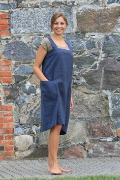 Linen pinafore. Linen Square-Cross Apron / by OldWallLinen on Etsy