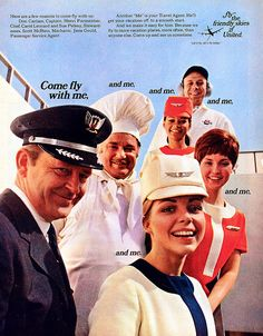 1969 Fly the Friendly Skies United Airlines Stewardess & Pilot Image Print Ad Retro Advertisement Art Ephemera Vintage Advertisements, Vintage Ads, Vintage Airline, Retro Advertising, Vintage Photos, Airline Travel, Air Travel, Jets, Voyage Usa