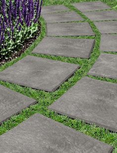 """Gardener's Supply: 12"""" x 12"""" Stomp Stones™ - Recycled Rubber Pavers: Drop & Stomp. Pavers resemble flagstones, but they're lightweight and much easier to carry and install than heavy stone or concrete pavers. Simply set them in place, step on them and the sharp beveled edge underneath cuts into grass, gravel, sand or soil, creating a stable, textured, non-slip surface"""