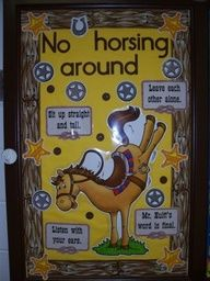 western themed classroom bulletin boards - CLASS RULES CHART