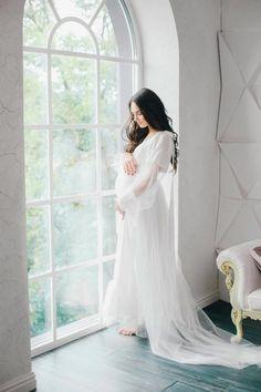 Long white maternity dress for photoshoot Pregnancy dress for   Etsy