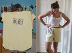 Upcycle an old t-shirt into comfy shorts or sleep pants!