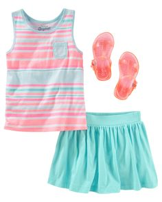 Nothing says summer like pretty pastels on pocket tanks and jelly sandals (psst… they sparkle, too!). Complement with a play-ready scooter skirt.