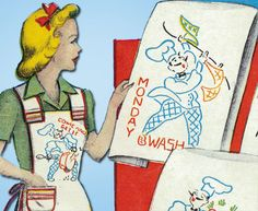 1950s Vintage Vogart Embroidery Transfer 654 Uncut DOW French Chef Tea Towels #Vogart