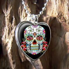 Dia De Los Muertos Skull Sterling Silver Heart Necklace - I want this!!!