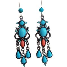 Vintage Turquoise And Coral Chandelier Earrings Turquoise, coral and rhinestones set in an antiqued silver setting. According to my source, these were made sometime in the 70's. Carol Duplaise worked for Miriam Haskell for 20 years beginning in 1959 and did some fantastic designs. She sold to very high end designers like coco Chanel. The earrings measure 2 1/2 inches from the top of my hand made sterling silver and turquoise ear wires.