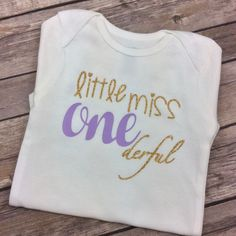 Any Colors - Lavender Purple and Gold Glitter Little Miss ONEderful Birthday Onesie / Shirt, First Birthday Onesie, One Year, 1 Year Old by CamiAndJo on Etsy