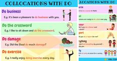 0shares Learn useful collocations with DO in English. List of common collocations with the word DO. You can jump to …