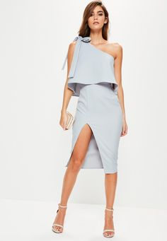 Missguided - Grey Crepe One Shoulder Bow Sleeve Midi Dress | $63