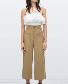 Image 2 of STUDIO CROPPED RUFFLE TOP from Zara