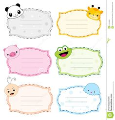 Animal Label Frame Stock Vector Illustration Of Clipart regarding Pretty Label Templates - Professional Templates Ideas Name Tag For School, School Frame, Colorful Animals, Cute Animals, Nametags For Kids, Page Borders Design, School Labels, Kids Labels, Label Templates