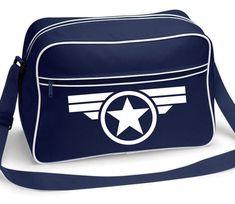Captain America Marvel Comics Super Soldier Retro Shoulder Messenger Bag Navy Blue