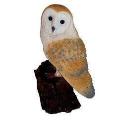 Michael Carr Barn Owl on Log Resin Statue, Brown Gnome Statues, Garden Statues, Garden Sculptures, Bird Types, Outdoor Statues, Orange Tabby Cats, Cat Statue, Ceramic Owl, Bulldog Puppies