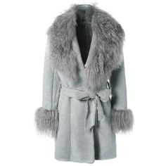 Belted Faux Lamb Wool Coat (6720 RSD) ❤ liked on Polyvore featuring outerwear, coats, belted coat, belted wool coat, wool coat, faux wool coat and faux coat