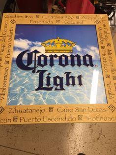 Corona Light Beach Frame Mexican City Cerveza Azul Ocean sign pub bar Man Cave