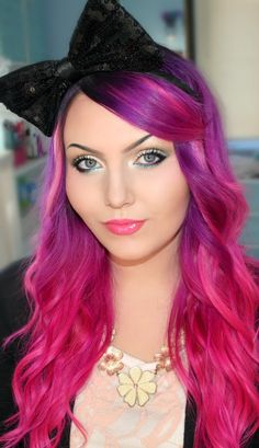 54 Crazy Pastel Hair Color Ideas For Unique Hairstyles – Beauty Tips Pink Ombre Hair, Hair Color Pink, Pastel Hair, Magenta Hair, Rose Fushia, Pink Purple, Hot Pink, Blue, Color Fantasia