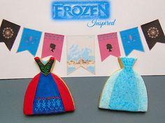 Galletas decoradas de los vestidos de Elsa y Anna de Frozen-Frozen princess dress decorated cookies