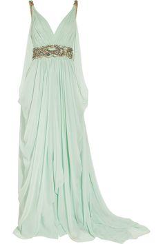 MarchesaCrystal-embellished silk-chiffon gown.  Princess dress.