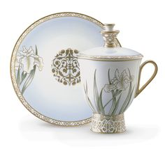 Iris Covered Coffee Cup & Saucer