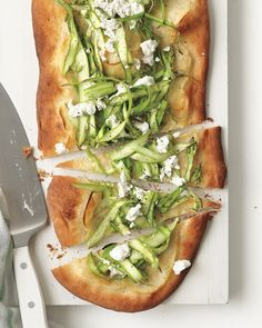 Transform store-bought pizza dough into a fast, fresh dinner that's perfect for spring and beautiful enough for a party -- Asparagus-and-Potato Flatbread Recipe