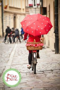 polka dots on red, the cutest set for bicycles  www.bikebelle.pl