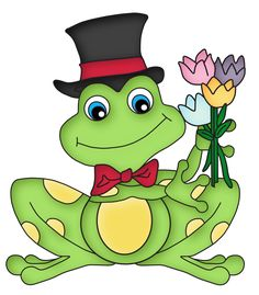 Frog w/a Top Hat & flowers