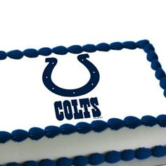 Indianapolis Colts Birthday Cake!!! Could also be University of Alabama in Huntsville Chargers cake.