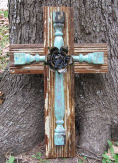 PC002 Antique White Layered Cross with Turquoise by DiaMorDecor