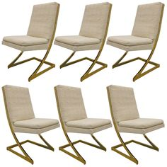 Set of 6 Z Brass Dining Chairs by Milo Baughman for DIA 1970