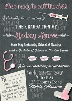Medical or Nursing School Graduation Party Invitation by APlumHoot