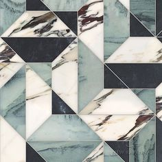 Zachary Grand stone mosaic shown in polished Kay's Green, Plumeria, and honed Orpheus Black Mosaic Wall Tiles, Marble Mosaic, Stone Mosaic, Stone Tiles, Marble Floor, Floor Patterns, Tile Patterns, Textures Patterns, Floor Design