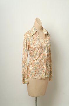 ed029b2b Items similar to Vintage shirt / JCP PENNEY Polyester Button Down Shirt /  Shirt / Disco 70s Hippie Disco Collar Art Nouveau Floral Print Boho Hippie  1970s ...